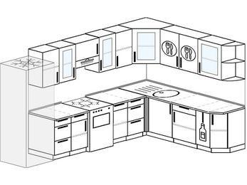 Угловая кухня 9,3 м² (3,1✕2,1 м), верхние модули 720 мм, холодильник, отдельно стоящая плита