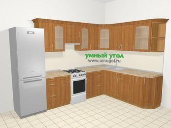 Угловая кухня МДФ матовый в классическом стиле 9,3 м², 310 на 210 см, Вишня, верхние модули 72 см, холодильник, отдельно стоящая плита