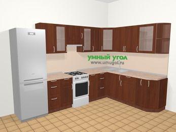 Угловая кухня МДФ матовый в классическом стиле 9,3 м², 310 на 210 см, Вишня темная, верхние модули 72 см, холодильник, отдельно стоящая плита