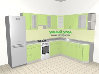 Угловая кухня МДФ металлик 9,3 м², 3100 на 2100 мм, Салатовый металлик, верхние модули 720 мм, холодильник, отдельно стоящая плита