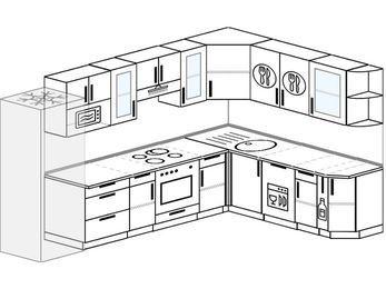 Угловая кухня 9,3 м² (3,1✕2,1 м), верхние модули 720 мм, посудомоечная машина, модуль под свч, встроенный духовой шкаф, холодильник