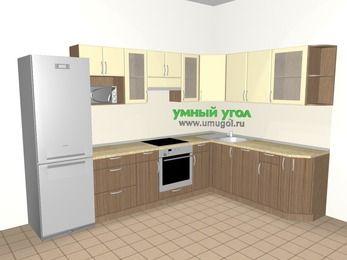Угловая кухня МДФ матовый 9,3 м², 3100 на 2100 мм, Ваниль / Лиственница бронзовая, верхние модули 720 мм, посудомоечная машина, модуль под свч, встроенный духовой шкаф, холодильник