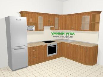 Угловая кухня МДФ матовый в классическом стиле 9,3 м², 310 на 210 см, Вишня, верхние модули 72 см, посудомоечная машина, модуль под свч, встроенный духовой шкаф, холодильник