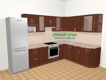 Угловая кухня МДФ матовый в классическом стиле 9,3 м², 310 на 210 см, Вишня темная, верхние модули 72 см, посудомоечная машина, модуль под свч, встроенный духовой шкаф, холодильник