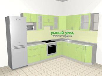 Угловая кухня МДФ металлик 9,3 м², 3100 на 2100 мм, Салатовый металлик, верхние модули 720 мм, посудомоечная машина, модуль под свч, встроенный духовой шкаф, холодильник