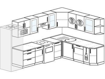 Угловая кухня 9,3 м² (3,1✕2,1 м), верхние модули 720 мм, модуль под свч, холодильник, отдельно стоящая плита