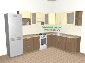 Угловая кухня МДФ матовый 9,3 м², 3100 на 2100 мм, Ваниль / Лиственница бронзовая, верхние модули 720 мм, модуль под свч, холодильник, отдельно стоящая плита