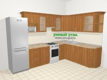 Угловая кухня МДФ матовый в классическом стиле 9,3 м², 310 на 210 см, Вишня, верхние модули 72 см, модуль под свч, холодильник, отдельно стоящая плита