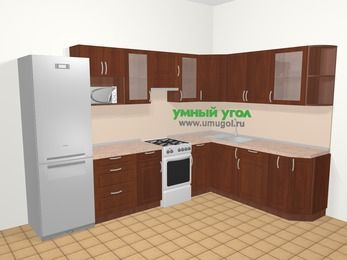 Угловая кухня МДФ матовый в классическом стиле 9,3 м², 310 на 210 см, Вишня темная, верхние модули 72 см, модуль под свч, холодильник, отдельно стоящая плита