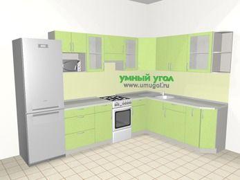 Угловая кухня МДФ металлик 9,3 м², 3100 на 2100 мм, Салатовый металлик, верхние модули 720 мм, модуль под свч, холодильник, отдельно стоящая плита
