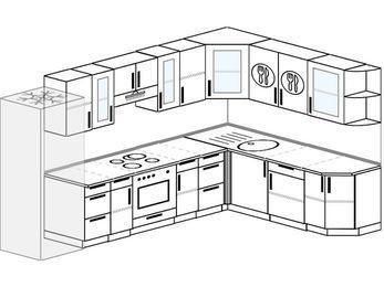 Угловая кухня 9,3 м² (3,1✕2,1 м), верхние модули 72 см, встроенный духовой шкаф, холодильник