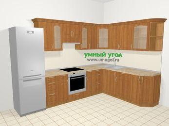 Угловая кухня МДФ матовый в классическом стиле 9,3 м², 310 на 210 см, Вишня, верхние модули 72 см, встроенный духовой шкаф, холодильник
