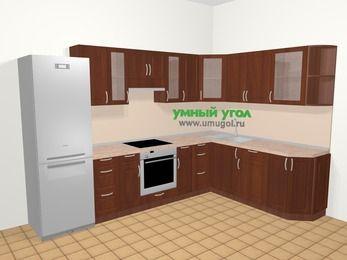 Угловая кухня МДФ матовый в классическом стиле 9,3 м², 310 на 210 см, Вишня темная, верхние модули 72 см, встроенный духовой шкаф, холодильник