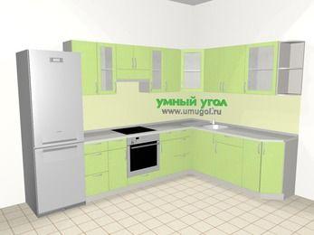 Угловая кухня МДФ металлик 9,3 м², 3100 на 2100 мм, Салатовый металлик, верхние модули 720 мм, встроенный духовой шкаф, холодильник
