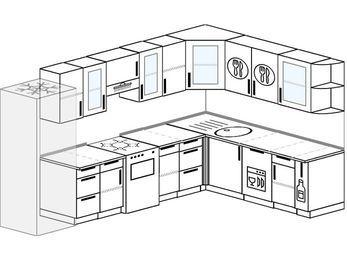 Угловая кухня 9,3 м² (3,1✕2,1 м), верхние модули 720 мм, посудомоечная машина, холодильник, отдельно стоящая плита