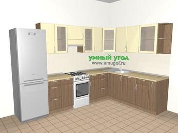 Угловая кухня МДФ матовый 9,3 м², 3100 на 2100 мм, Ваниль / Лиственница бронзовая, верхние модули 720 мм, посудомоечная машина, холодильник, отдельно стоящая плита