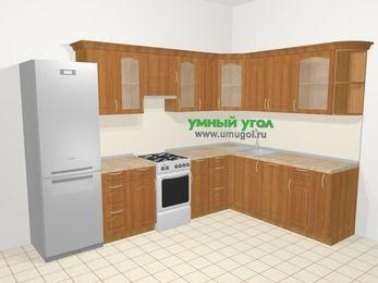 Угловая кухня МДФ матовый в классическом стиле 9,3 м², 310 на 210 см, Вишня, верхние модули 72 см, посудомоечная машина, холодильник, отдельно стоящая плита