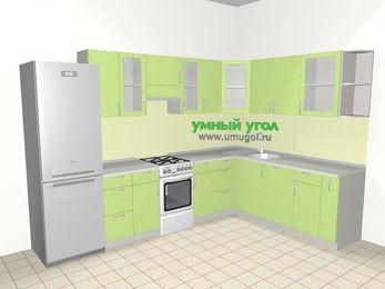Угловая кухня МДФ металлик 9,3 м², 3100 на 2100 мм, Салатовый металлик, верхние модули 720 мм, посудомоечная машина, холодильник, отдельно стоящая плита