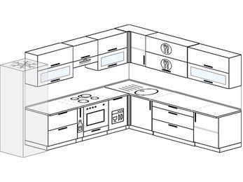 Планировка угловой кухни 11,1 м², 310 на 270 см: верхние модули 72 см, холодильник, корзина-бутылочница, встроенный духовой шкаф, посудомоечная машина
