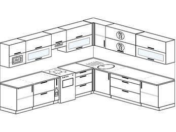 Планировка угловой кухни 11,1 м², 310 на 270 см: верхние модули 72 см, корзина-бутылочница, отдельно стоящая плита, модуль под свч