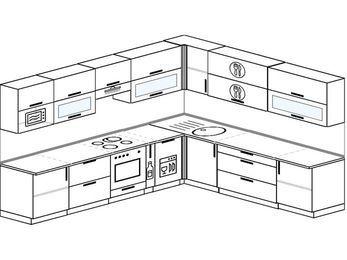 Планировка угловой кухни 11,1 м², 3100 на 2700 мм: верхние модули 720 мм, встроенный духовой шкаф, корзина-бутылочница, посудомоечная машина, модуль под свч