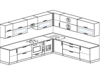 Планировка угловой кухни 11,1 м², 310 на 270 см: верхние модули 72 см, встроенный духовой шкаф, корзина-бутылочница, посудомоечная машина