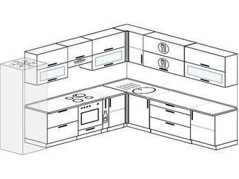 Планировка угловой кухни 11,1 м², 310 на 270 см: верхние модули 72 см, холодильник, встроенный духовой шкаф, корзина-бутылочница