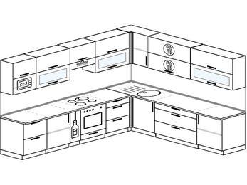 Планировка угловой кухни 11,1 м², 310 на 270 см: верхние модули 72 см, корзина-бутылочница, встроенный духовой шкаф, модуль под свч