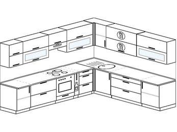 Планировка угловой кухни 11,1 м², 310 на 270 см: верхние модули 72 см, встроенный духовой шкаф, корзина-бутылочница