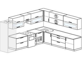 Планировка угловой кухни 11,1 м², 310 на 270 см: верхние модули 72 см, холодильник, отдельно стоящая плита, корзина-бутылочница, посудомоечная машина