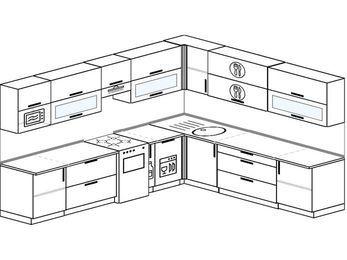 Планировка угловой кухни 11,1 м², 310 на 270 см: верхние модули 72 см, отдельно стоящая плита, корзина-бутылочница, посудомоечная машина, модуль под свч