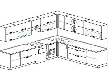 Планировка угловой кухни 11,1 м², 310 на 270 см: верхние модули 72 см, отдельно стоящая плита, корзина-бутылочница, посудомоечная машина