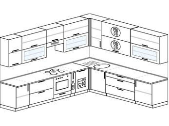 Планировка угловой кухни 11,1 м², 310 на 270 см: верхние модули 92 см, встроенный духовой шкаф, корзина-бутылочница, посудомоечная машина