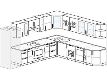 Планировка угловой кухни 11,1 м², 310 на 270 см: верхние модули 72 см, холодильник, встроенный духовой шкаф, посудомоечная машина, корзина-бутылочница