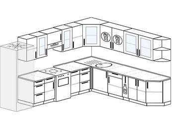 Планировка угловой кухни 11,1 м², 310 на 270 см: верхние модули 72 см, холодильник, отдельно стоящая плита, корзина-бутылочница