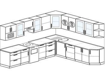 Планировка угловой кухни 11,1 м², 310 на 270 см: верхние модули 72 см, отдельно стоящая плита, модуль под свч