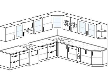 Планировка угловой кухни 11,1 м², 310 на 270 см: верхние модули 72 см, отдельно стоящая плита, корзина-бутылочница