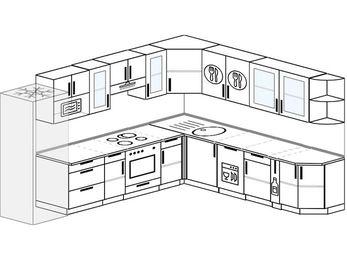 Планировка угловой кухни 11,1 м², 310 на 270 см: верхние модули 72 см, холодильник, встроенный духовой шкаф, посудомоечная машина, корзина-бутылочница, модуль под свч