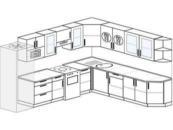 Планировка угловой кухни 11,1 м², 310 на 270 см: верхние модули 72 см, холодильник, отдельно стоящая плита, модуль под свч