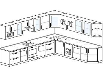 Планировка угловой кухни 11,1 м², 310 на 270 см: верхние модули 72 см, встроенный духовой шкаф, посудомоечная машина, модуль под свч