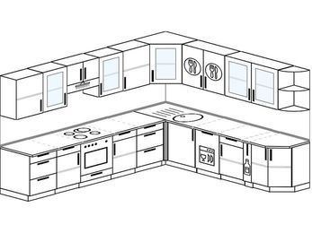 Планировка угловой кухни 11,1 м², 3100 на 2700 мм: верхние модули 720 мм, встроенный духовой шкаф, посудомоечная машина, корзина-бутылочница