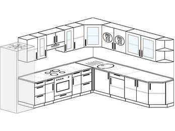 Планировка угловой кухни 11,1 м², 310 на 270 см: верхние модули 72 см, холодильник, встроенный духовой шкаф