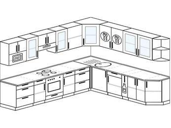 Планировка угловой кухни 11,1 м², 310 на 270 см: верхние модули 72 см, встроенный духовой шкаф, корзина-бутылочница, модуль под свч