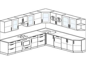 Планировка угловой кухни 11,1 м², 310 на 270 см: верхние модули 72 см, встроенный духовой шкаф
