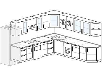 Планировка угловой кухни 11,1 м², 310 на 270 см: верхние модули 72 см, холодильник, отдельно стоящая плита, посудомоечная машина