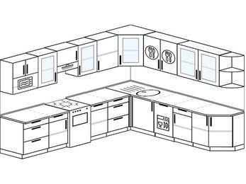 Планировка угловой кухни 11,1 м², 310 на 270 см: верхние модули 72 см, отдельно стоящая плита, посудомоечная машина, модуль под свч