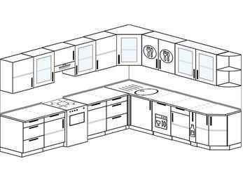 Планировка угловой кухни 11,1 м², 310 на 270 см: верхние модули 72 см, отдельно стоящая плита, посудомоечная машина, корзина-бутылочница