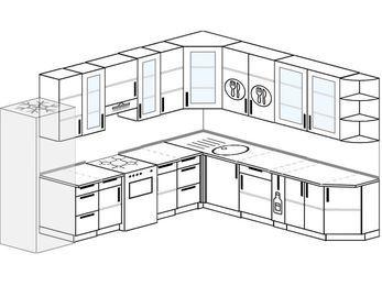 Планировка угловой кухни 11,1 м², 310 на 270 см: верхние модули 92 см, холодильник, отдельно стоящая плита, корзина-бутылочница