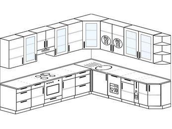 Планировка угловой кухни 11,1 м², 310 на 270 см: верхние модули 92 см, встроенный духовой шкаф, посудомоечная машина, корзина-бутылочница