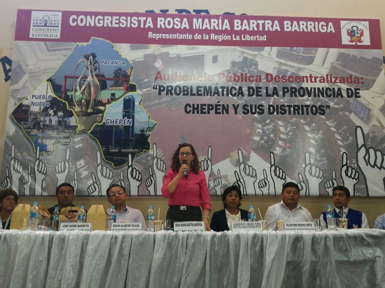 Audiencia Pública Descentralizada Chepén 1  Congresista La Libertad Rosa María Bartra Barriga 04 10 2016